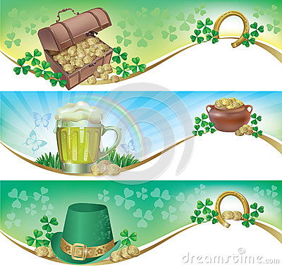 Free St. Patricks Day Horizontal Banners Royalty Free Stock Photography - 29606537