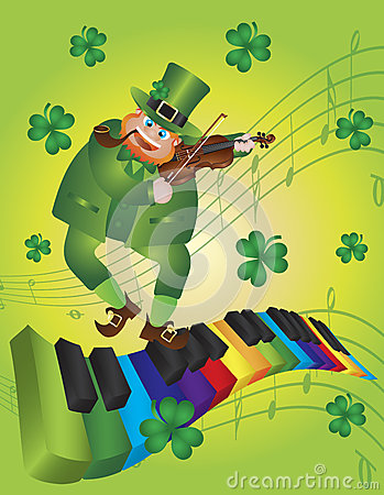 St Patricks Day Leprechaun Dancing on Piano Keyboa