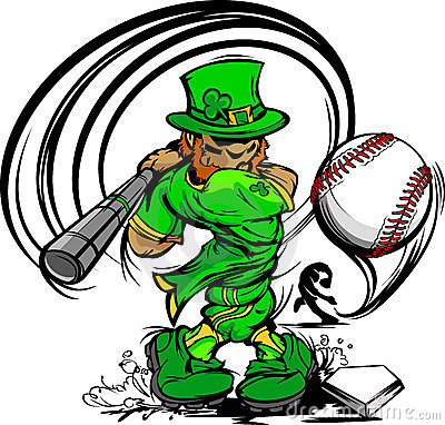 Free St. Patricks Day Leprechaun Swinging Baseball Bat Royalty Free Stock Images - 22938079