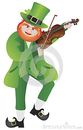 St Patricks Day Leprechaun Violin Illustration