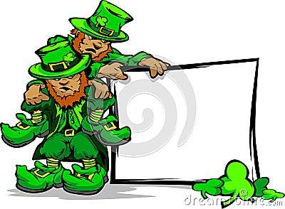 St. Patricks Day Leprechauns Holding Sign