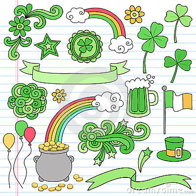 St Patricks Day Notebook Doodle Icon Set Vector