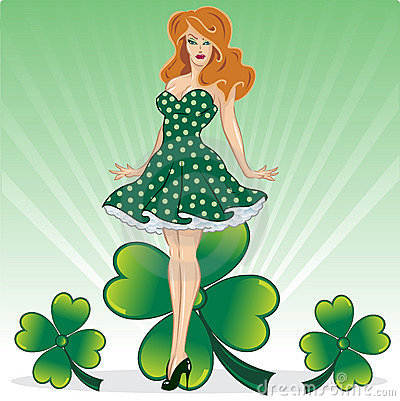 St Patricks Day pin up with clover