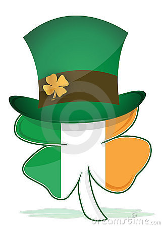 St. Patricks hat with irish clover illustration