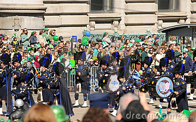 St Patricks parade pipes and drums unit Editorial Photo