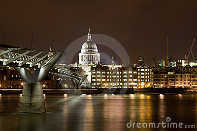 St Paul s Cathedral and Millennium Bridge Editorial Photography