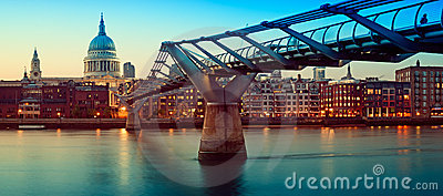 St Paul s Cathedral and Millennium Bridge, London Editorial Image
