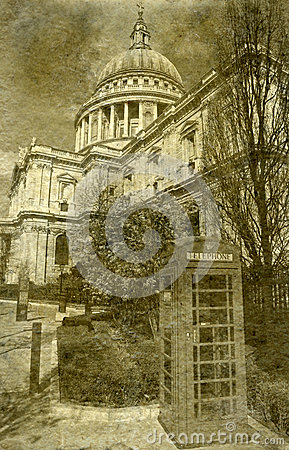 St. Paul s Cathedral and Red Telephone Box in London