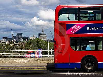St. Pauls Cathedral & London Bus Editorial Photo