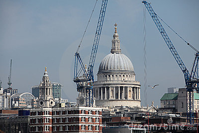 St Pauls Cathedral in London Surrounded by Cranes