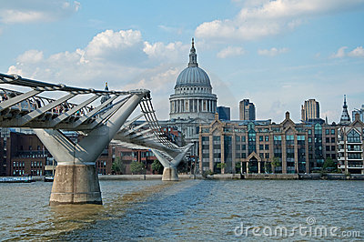 St Pauls Cathedral and the Millenium Bridge Editorial Photo