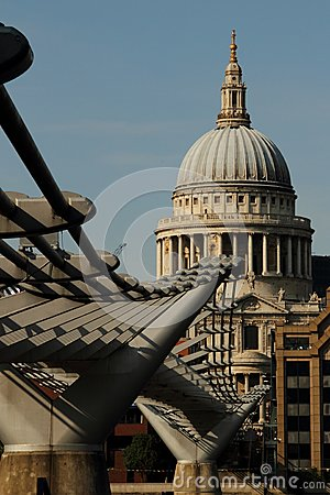 St pauls catherdal and millenium bridge Editorial Stock Image