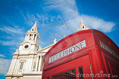St Pauls, London and red phone box