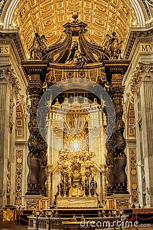 Free St. Peter S Basilica, Chair Of Saint Peter, Baldachin Stock Photos - 45106173