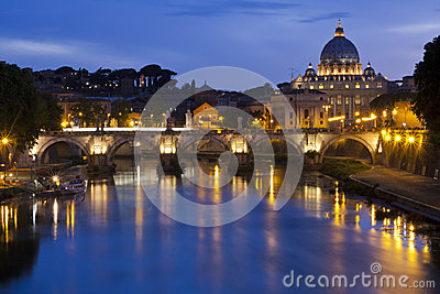 St. Peters Basilica from the River Tiber