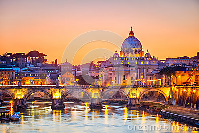 St. Peter s cathedral at night, Rome