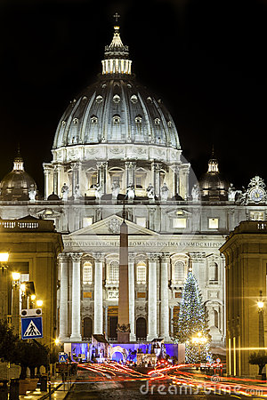 Free St. Peters Basilica In Rome, Italy With Christmas Tree. Vatican City. Light Trails Of Cars Stock Images - 53604684