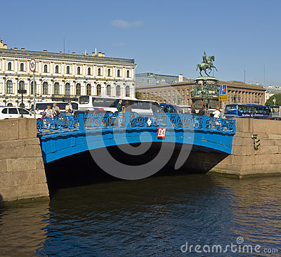 St. Petersburg, Blue bridge Editorial Photography