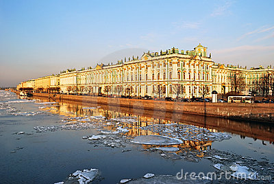 St. Petersburg. Palace Embankment at dusk