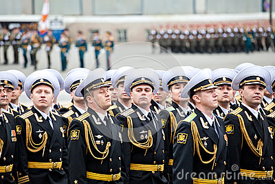 ST. PETERSBURG, RUSSIA - MAY 9: Military Victory parade (victory in the World War II) is spent every year on May 9 on Palace Squar Editorial Stock Image