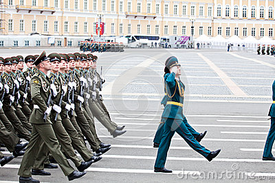 ST. PETERSBURG, RUSSIA - MAY 9: Military Victory parade Editorial Image