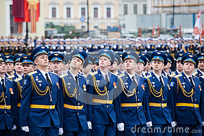 ST. PETERSBURG, RUSSIA - MAY 9: Military Victory parade Editorial Stock Photo