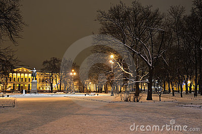 St Petersburg, Russia on a winter evening