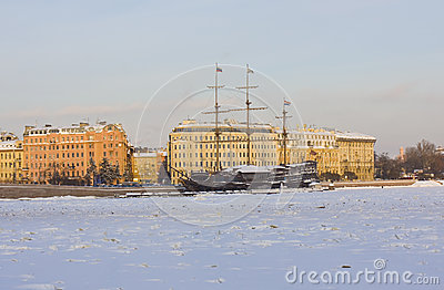 St. Petersburg, sailing ships in winter