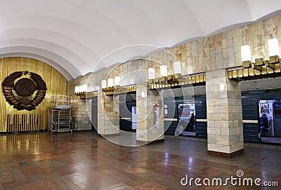 St. Petersburg, soviet symbols on subway station. Editorial Image