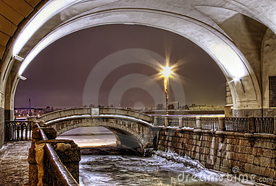 St. Petersburg, winter canal