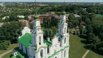St Sophia da igreja em Polotsk, opinião aérea de Bielorrússia, Europa do marco ortodoxo filme