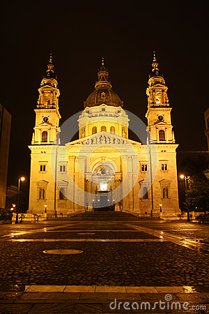 St. Stephen Church in Budapest at night