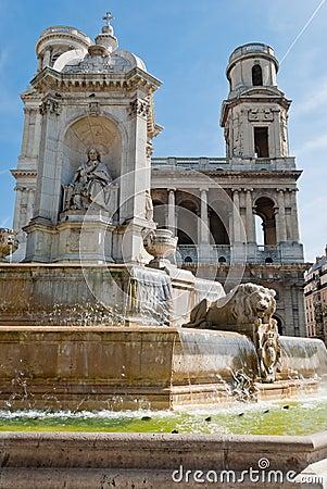 St. Sulpice Church and fountain, Paris