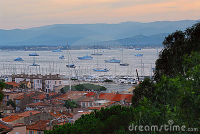 St.Tropez harbor at sunset