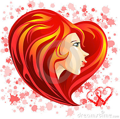 St. Valentine girl face with red heart shaped hair