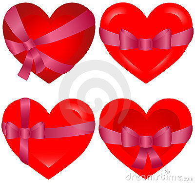 St. Valentine`s Hearts bonded with pink ribbon
