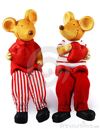 St.Valentine's Mice With Red Hearts Royalty Free Stock Photo - Image: 3826175