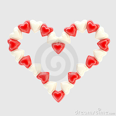 St. Valentine symbol made of hearts isolated