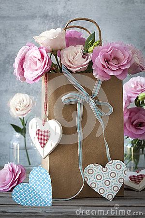 St Valentines Day Horizontal Background With Flowers