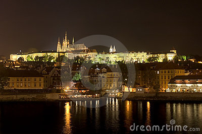 St. Vitus Cathedral and Prague Castle at night