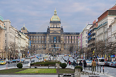 St. Wenceslas  square, Prague Editorial Stock Photo