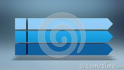 Stab 3D Quadratisches Titelkastendiagramm der Intro drei, PowerPoint-Darstellungsschablone Version 2 (enthaltenes Alpha) stock abbildung