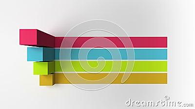 Stab 3D Quadratisches Titelkastendiagramm der Intro vier, PowerPoint-Darstellungsschablone Version 3 lizenzfreie abbildung