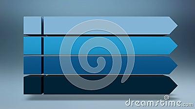 Stab 3D Quadratisches Titelkastendiagramm der Intro vier, PowerPoint-Darstellungsschablone Version 2 (enthaltenes Alpha) stock abbildung