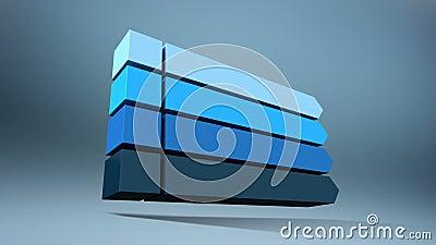 Stab 3D Quadratisches Titelkastendiagramm der Intro vier, PowerPoint-Darstellungsschablone Version 1 (enthaltenes Alpha) lizenzfreie abbildung