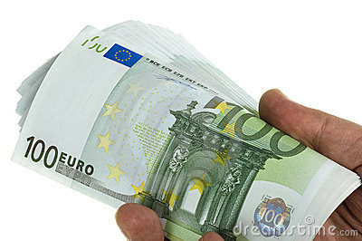 Stack of 100 euro in hand