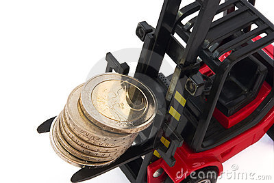 Stack of 2 Euro coins on forklift