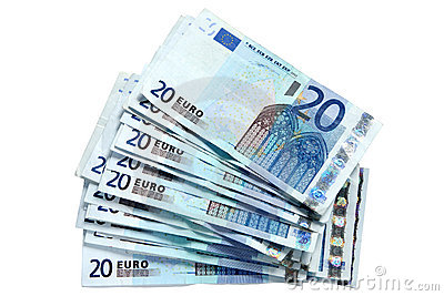 A stack of 20 Euro notes.