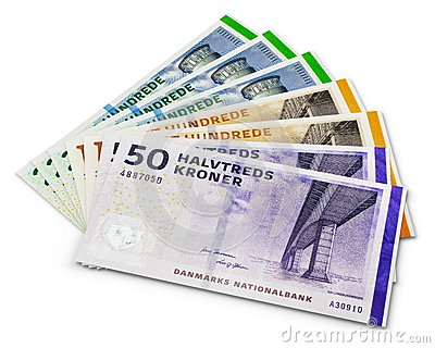 Stack of 200, 100 and 50 danish krone banknotes