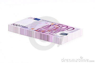 Stack of 500 Eur Notes